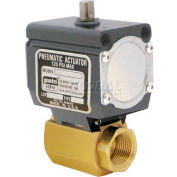 Gemini Valve® High Duty Cycle Brass Ball Valve, Double-Acting Pneumatic Actuator, 1/4""