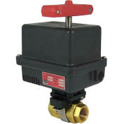 Gemini Valve® Brass Barstock Ball Valve W/600 Series 120AC Electric Actuator, 3/8""