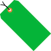 """#8 Green Fluorescent Strung Tag Pack 6-1/4"""" x 3-1/8"""" - 1000 Pack"""