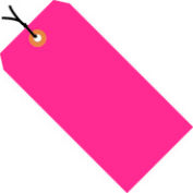 """#8 Pink Fluorescent Strung Tag Pack 6-1/4"""" x 3-1/8"""" - 1000 Pack"""