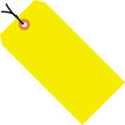 """#8 Yellow Fluorescent Strung Tag Pack 6-1/4"""" x 3-1/8"""" - 1000 Pack"""