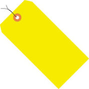 "#4 Yellow Fluorescent Wired Tag Pack 4-1/4"" x 2-1/8"" - 1000 Pack"