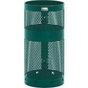 "Rubbermaid® H1N Towne Pole/Wall Mount Receptacle, Green, 10 Gallon, 12""Dia x 24""H"