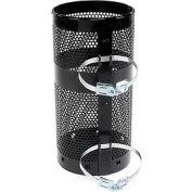 "Rubbermaid® H1N Towne Pole/Wall Mount Receptacle, Black, 10 Gallon, 12""Dia x 24""H"