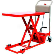 "HAMACO Ultra-Low Type Work Cart with Scissor Lift HLH-100-80L, 28.3"" x 15.7"", 220 Lb. Capacity"