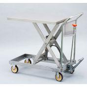 """HAMACO Stainless Steel Mobile Scissor Lift Table HLH-500SUS - 36-5/8""""L x 23-5/8""""L, 1102 Lb. Cap."""