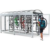 """Peapod Mini 8-10 SS / Locking Bike Shelter 14'8""""L x 7'5""""W - 10 Bike Capacity - Barrel Roof"""