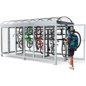 "Peapod Mini 8-15 SS / Locking Bike Shelter 21'10""L x 7'5""W - 15 Bike Capacity - Hip Roof"