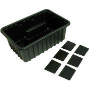 Homak HA01016116 Plastic Tote w/6 Dividers, Black
