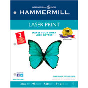 "Hammermill® Laser Print Paper, 8-1/2"" x 11"", 24 lb, 3-Hole Punched, White, 500 Sheets/Ream"