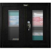 Hallowell 405-3026SVA 400 Series SafetyView Door Wall Mount Storage Cabinet,30x12x26 Ebony,Assembled