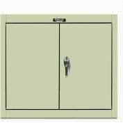Hallowell 405-3630A-PT 400 Series Solid Door Wall Mount Storage Cabinet 36x12x30 Parchment Assembled