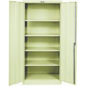 Hallowell 425S18PT 400 Series Solid Door Storage Cabinet, 48x18x72, Parchment, Unassembled