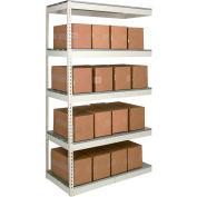 Rivetwell Dbl Rivet Boltless Shelving 72Wx36Dx120H 5 Levels Add-on No Decking 1490 Lbs Shelf Cap Tan