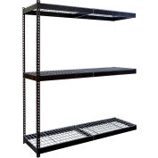 "Rivetwell Double Rivet Boltless Shelving 48""W x 18""D x 84""H 3 Levels Add-on W/Wire Decking Black"