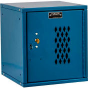 Hallowell HC121212 Cubix Modular Locker, w/built-in key lock, 12x12x12, Diamond Perforated Door Blue