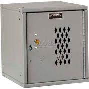 Hallowell HC121212 Cubix Modular Locker, w/built-in key lock 12x12x12 Perforated Door Platinum