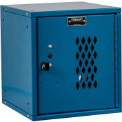 Hallowell HC121212-1DP-MB Cubix Modular Locker, Padlockable, 12x12x12, Diamond Perforated Door, Blue