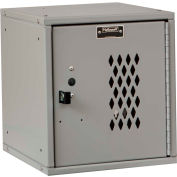 Hallowell HC121212 Cubix Modular Locker, Padlockable, 12x12x12, Diamond Perforated Door,Platinum