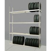"Rivetwell Single Row Tire Storage Shelving 60""W x 21""D x 120""H 4 Levels Starter Tan"