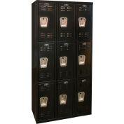 Hallowell U3282-3A-ME Black Tie Locker Triple Tier 12x18x24 9 Doors Assembled, Black