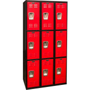 Hallowell U3282-3MR Black Tie Locker Triple Tier 12x18x24 9 Doors Unassembled, Black/Red