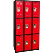 Hallowell U3282-3MR Black Tie Locker Triple Tier 12x18x24 9 Doors Unassembled, Black/Red