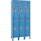 "Hallowell URB3258-2A-MB ReadyBuilt Locker, 36""W x 15""D x 39""H, Blue, Double Tier, 3 Wide"