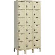 "Hallowell URB3258-6A-PT ReadyBuilt Locker, 36""W x 15""D x 13""H, Parchment, 6 Tier, 3 Wide"