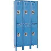 "Hallowell URB3288-2A-MB ReadyBuilt Locker, 36""W x 18""D x 39""H, Blue, Double Tier, 3 Wide"
