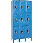 """Hallowell URB3288-3A-MB ReadyBuilt Locker, 36""""W x 18""""D x 26""""H, Blue, Triple Tier, 3 Wide"""
