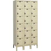 "Hallowell URB3288-6A-PT ReadyBuilt Locker, 36""W x 18""D x 13""H, Parchment, 6 Tier, 3 Wide"