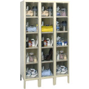 Hallowell USVP3286-5 Safety-View Plus Locker Five Tier 12x18x12 15 Doors Ready To Assemble Parchment