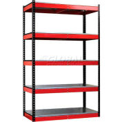 """Fort Knox Rivetwell Shelving Unit with EZ Deck, 36""""W x 24""""D x 78""""H, Blk Posts, Red Beams"""