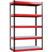 "Hallowell FKR482478-5S-F-BR-HT Fort Knox Rivetwell Shelving Unit w/ FeatherDeck, 48""W x 24""D x 78""H,"