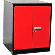 "Fort Knox Workbench Pedestal -Doors, 24""x24""x 32"", Black Body, Red Doors, 1-Wide"