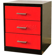 "Fort Knox Workbench Pedesta -3 Drawer,24""x24""x 32"",Black Body, Red Doors, 1-Wide"