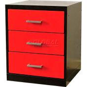 "Fort Knox Workbench Pedesta -3 Drawer,24""x24""x 32"",Black Body, Red Doors, 1-Wide"