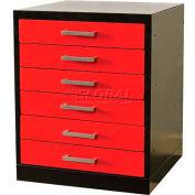 Hallowell FKWP4432-6D-BR-HT Fort Knox Workbench Pedestal-6 Drawer 24x24x32,Black Body, Red Doors, 1W