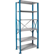 "Hallowell H-Post High Capacity Shelving 48""W x 18""D x 123""H 6 Adj Shelves Open Style, Shelf Starter"