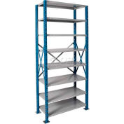 "Hallowell H-Post High Capacity Shelving 48""W x 24""D x 87""H 8 Adj Shelves Open Style, Shelf Starter"