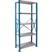 """Hallowell H-Post High Capacity Shelving 36""""W x 18""""D x 87""""H 5 Adj Shelves Open Style, Shelf Starter"""