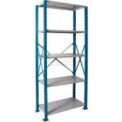 """Hallowell H-Post High Capacity Shelving 36""""W x 18""""D x 123""""H 5 Adj Shelves Open Style, Shelf Starter"""