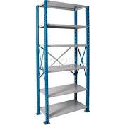 """Hallowell H-Post High Capacity Shelving 48""""W x 18""""D x 87""""H 6 Adj Shelves Open Style, Shelf Starter"""
