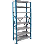 """Hallowell H-Post High Capacity Shelving 48""""W x 18""""D x 87""""H 8 Adj Shelves Open Style, Shelf Starter"""