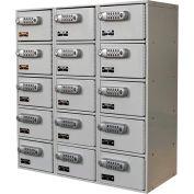 Hallowell UCTL392(30)-5A-E Tablet/Cell Phone Locker 27x12x30-1/2 15 Door-3 Wide Digitech Locks Gray