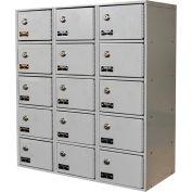 Hallowell UCTL392(30)-5A-K-PL Tablet/Cell Phone Locker 27x12x30-1/2 15 Door-3 Wide, w/Key Locks Gray