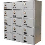 Hallowell UCTL392(30)-5A-PL Tablet/Cell Phone Locker 27x12x30-1/2, 15 Door-3 Wide Padlock Hasp, Gray