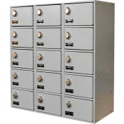 Hallowell UCTL392(30)-5A-PL Tablet/Cell Phone Locker 27x12x30-1/2, 15 Door 3 Wide Padlock Hasp Gray