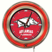 "University of Arkansas Double Neon Ring 15"" Dia. Logo Clock"